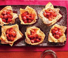 Stress-Free Dinner Party Recipes: Rhubarb-Berry Crisps. Tip: Make phyllo cups ahead and store at room temp; the fruit filling can keep in the fridge up to two days. #SelfMagazine
