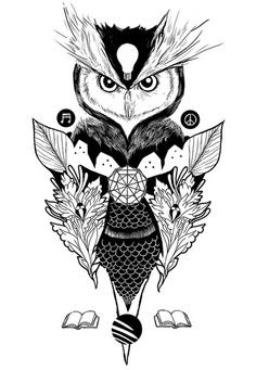 Incredible owl tattoo flash