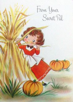 Vintage Thanksgiving wishes from your secret pal. #vintage #cute #Thanksgiving #cards