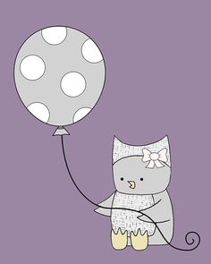 Purple and Grey Nursery Art, Owl with Balloon, Baby Girl Wall Art, Nursery Art Print
