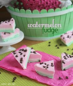 "Watermelon fudge from Cookies & Cups. Love the mini chocolate chip ""seeds""!"