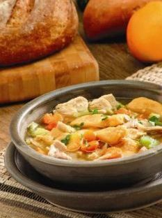 A classic #recipe with an #autumn twist! Chicken soup with herbed #sweet #potato dumplings