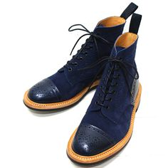 Tricker's - Eaton navy leather/suede