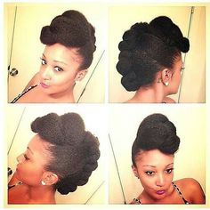 twisted poof updo natural hair protective styled mohawk