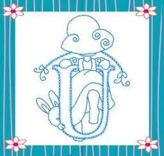 Sunbonnet Alphabet letra, kiwi, sun bonnet, sunbonnet sue, dibujo patchwork, abecedario, pergamano alphabet, machine embroidery designs, embroideri