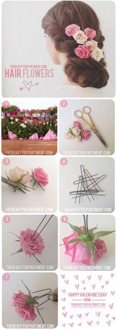 TBDhairflowers rose, hair flowers, diy hair, valentine day, wedding hairs, hairstyl, fresh flowers, last minute, flower hair