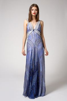 Peter Som abstract feather print dress.