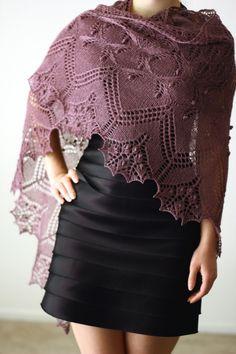 Purple knit shawl.