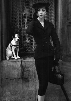 style, vintag fashion, dress, balenciaga 1950s, suits, dog, dovima 1950s, fashion model, 1950s fashion