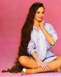 Crystal Gayle and her long hair.