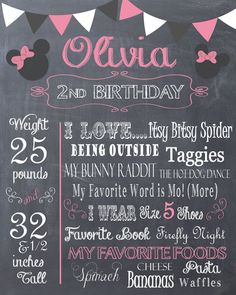 Birthday Chalkboard Memory- Mickey or Minnie Mouse Favorite Stats Print $12