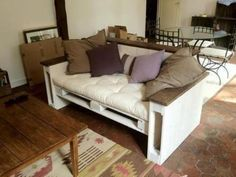 Lots! Of ideas for pallet furniture~ via palletfurnitureplans.com