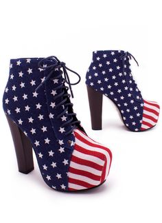 american flag lace-up bootie $48.00 - who needs jeffrey campbell ! pfft :]