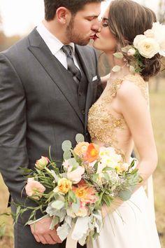 Hair, dress, flowers   Photography: Brandy Smyth Photography - brandismythphotography.com/  Read More: http://www.stylemepretty.com/2014/07/21/louisiana-rustic-chic-wedding-inspiration/