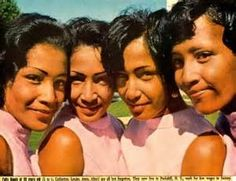 The Fultz quads at 22 in 1968. This picture appeared in an article in Ebony Magazine, which reported on how they were doing. They were each working at factory jobs, and at the time the article was printed, wanted to go into show business as a singing/instrumental sister act.