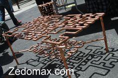 Copper tubing side table. Fun.