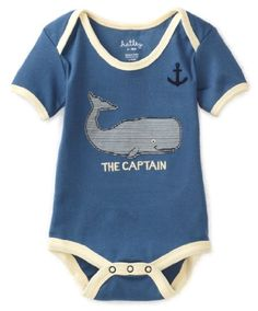 Hatley - Baby Boys Infant Boy Whales The Captain One Piece Body Suit / Onesie. Found at Sand People Kids Boutique in Poipu, Kauai!