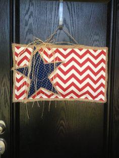 - American Flag Chevron  Burlap Door Hanger