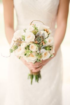 #Roses and #Succulents #Bouquet -- So Dreamy! See the wedding on http://www.StyleMePretty.com/california-weddings/huntington-beach/2014/01/15/red-horse-barn-wedding/ Honey Honey Photography
