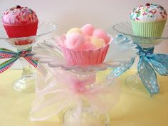 Glass cupcake pedestals from candlesticks and votive candle saucers - how pretty!