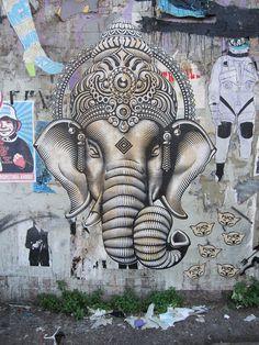 Ganesha in echo park ~Beautiful work.  #art #Ganesha #Echo_Park