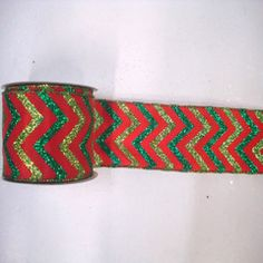 Chevron Ribbon in the Colors of Christmas -Red, Lime, Green, Ribbon, Chevron $15.99 for 10yds