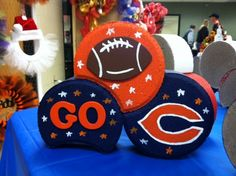 Chicago Bears with Cresent Bricks -- Really like the idea of this but don't like the glued on decorations.  This would look MUCH cuter if it were all painted, the C was centered better and the Go was on top with the C in the Go spot.