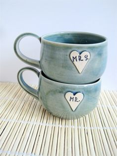 So cute!  - Newlywed Couple Mr and Mrs mug set In Frosty by ArtHausCeramics