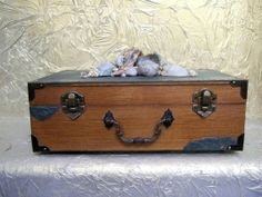 Wooden Chest  Keepsake Box Decorative Box With Sea by ArtOnceAgain, $56.00