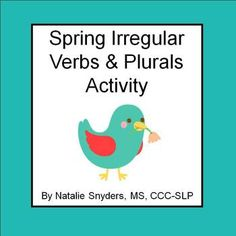Irregular past tense verbs and plurals activity with a delightful spring theme!