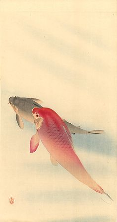 OHARA Koson (1877~1945), Japan beauti skirt, japanese prints, fish art, koson 18771945, laundry rooms, garden ponds, artist, ohara koson, woodblock print
