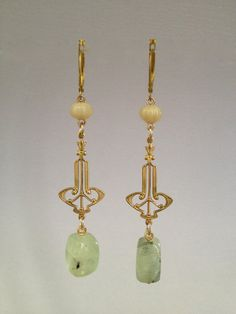 Dangle Earring with Prehnite Nuggets by Hibiscus03 on Etsy, $35.00