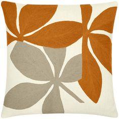 Judy Ross Textiles - 18 x 18 Cream/Melon Fauna Pillow