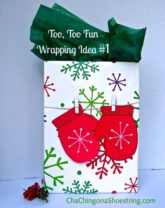 Super Creative Gift Bag Idea using a cereal box - love the mittens