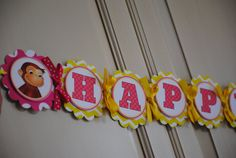 NEW  Curious George XL Birthday Banner by mlf465 on Etsy