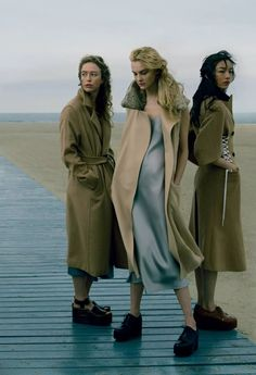 """Raquel, Caroline and Fei Fei in Playing It Cool Annie Leibovitz for Vogue US September 2014 (I dunno, I'm torn between """"there was a fire alarm and we threw a coat and shoes over our nightgown so we could get out of the hotel"""" and """"cool""""."""