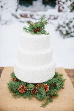 Rustic White Buttercream Wedding Cake with Winter Greenery & Pine Cones