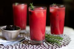 Watermelon-Rosemary Lemonade with Smashed Blackberries.