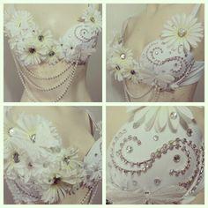White daisy rave bra SugarRoxCouture@gmail.com