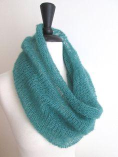 Mohair Silk Knit Cowl Infinity Scarf Ocean by KnittingWonders, $50.00