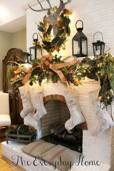 Magnolias and lanterns- a southern staple:  A Whole Bunch Of Christmas Mantels 2013 - Christmas Decorating -