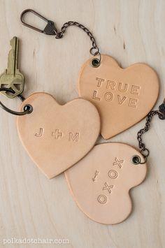 DIY leather conversation heart key fobs