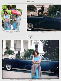 Katie Holmes has been placed in a 1960s photo of the White House.  http://www.freephotoediting.com/samples/change-background/049_katie-holmes-in-white-house-with-john-f-kennedy.htm