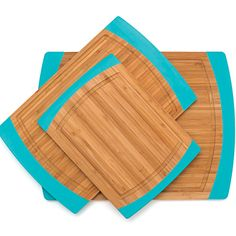 We love the turquoise edge on these bamboo cutting boards. How chic would these look on a countertop? | $29.99