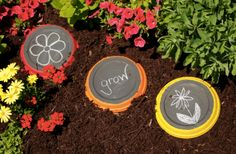 #Cricut: Chalkboard stepping stones to get the kids outdoors