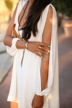 summer dresses, white style, fashion styles, nail polish colors, outfit, boho, nails, little white dresses, sleeves