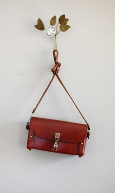 oxblood leather bag / Etienne Aigner satchel