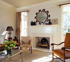 Living Room with Windows on both sides of Fireplace - by Patrick Lewis of Circa Interiors & Antiques