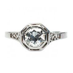 vintage edwardian diamond ring / trumpet & horn