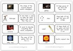 Space Vocabulary Match-Up cards